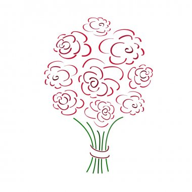 Rose bouquet, vector illustration stock vector