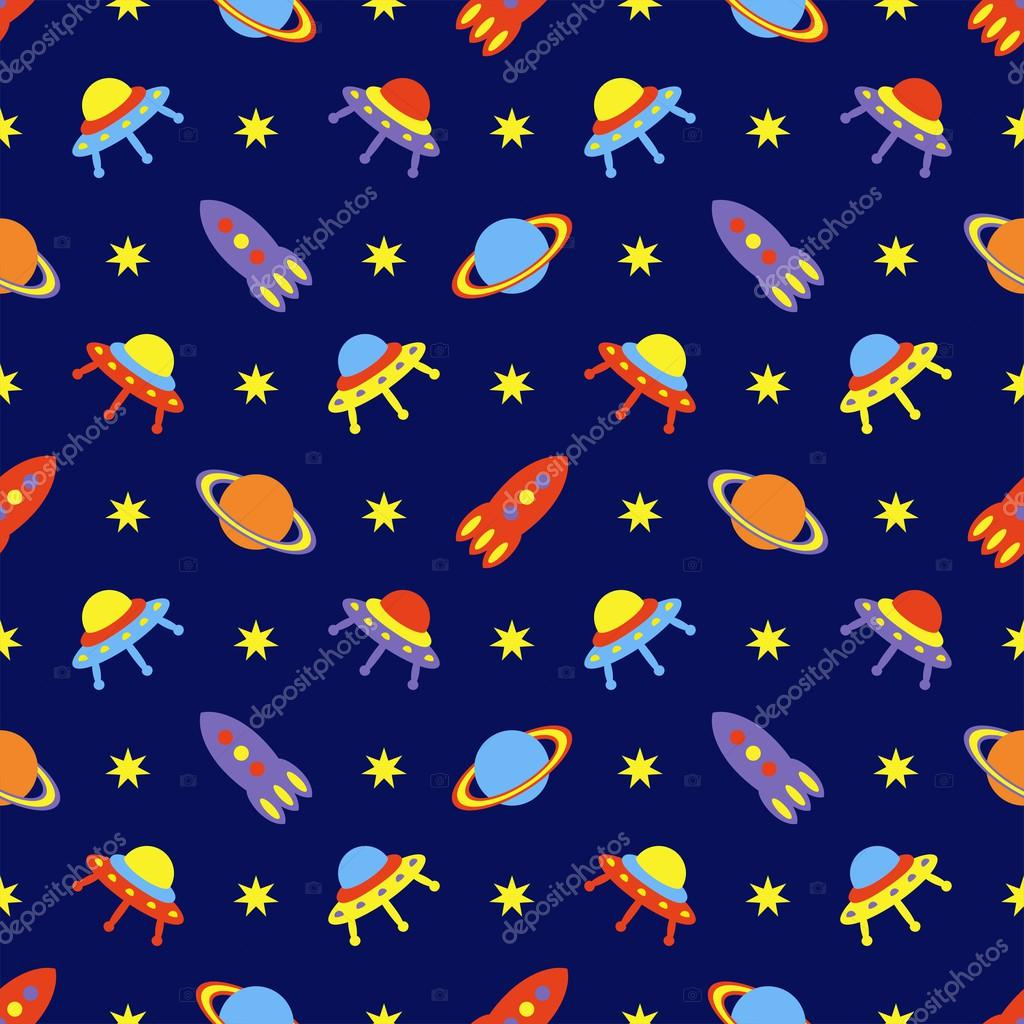 Child cosmos seamless pattern, vector illustration
