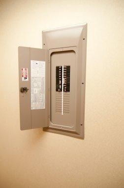 Indoor home open electrical breaker panel