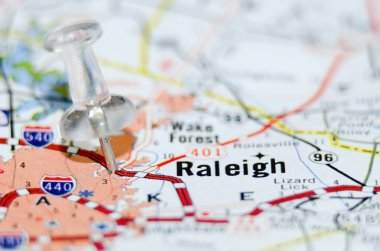 raleigh city pin on the map