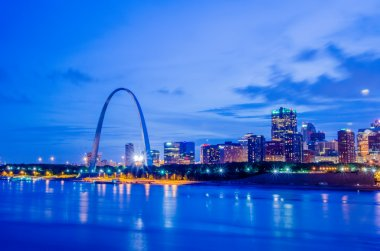 City of St. Louis skyline. Image of St. Louis downtown with Gate