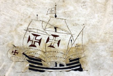 Detail of a caravel at the wind rose in marble near the Monument
