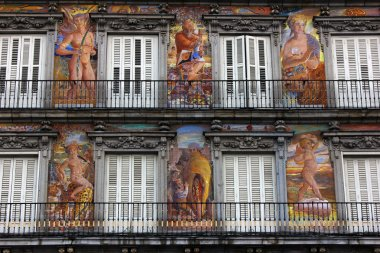 Detail of a building at Plaza Mayor, Madrid, Spain