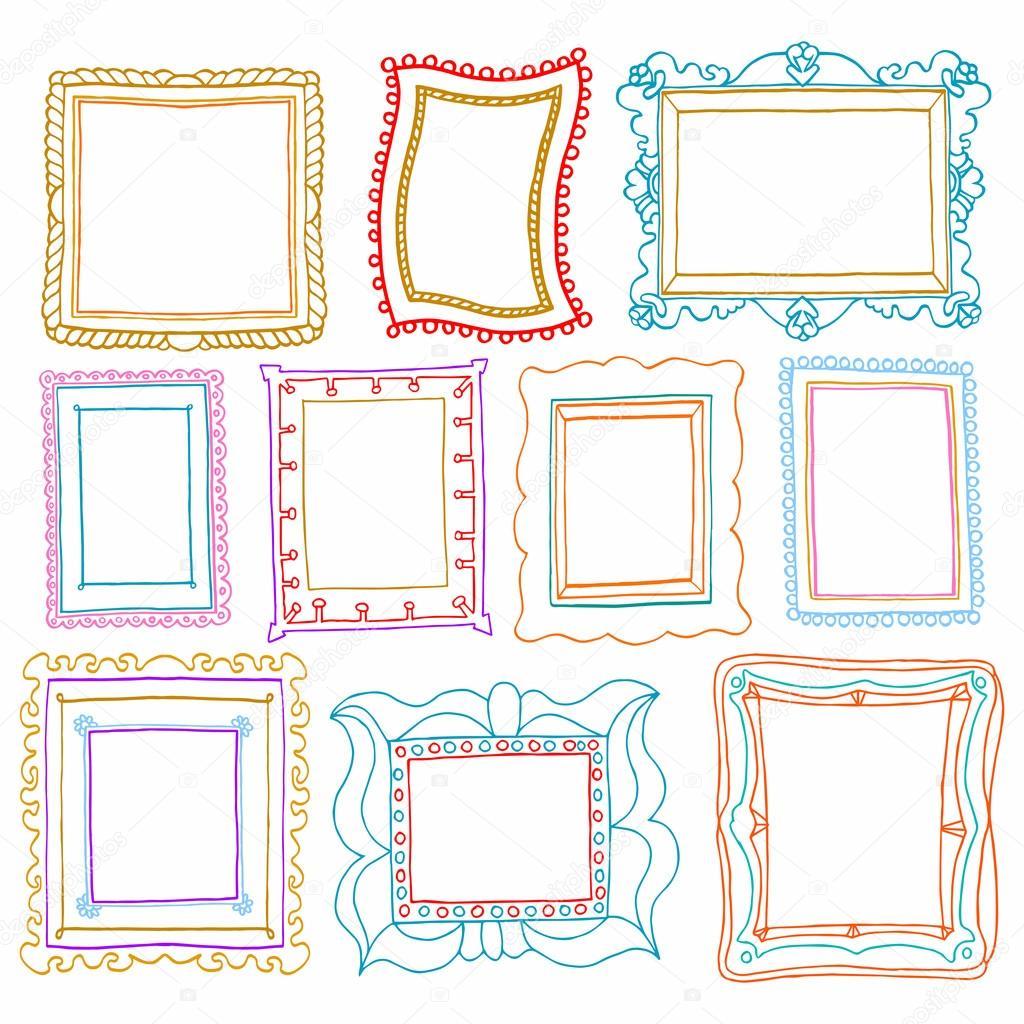 vintage foto frames set  tekening doodle stijl  antigue vintage frames vector download vintage frames vector png