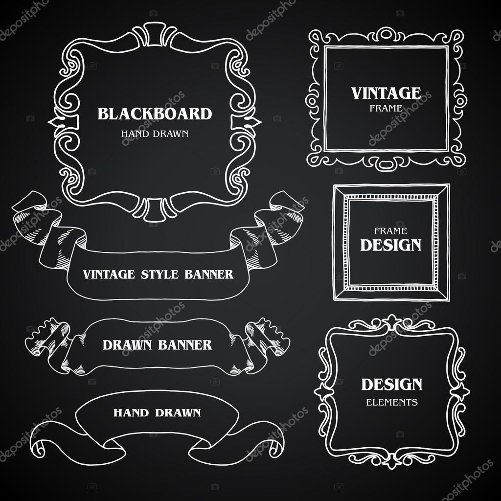 Pizarra Vintage foto marcos conjunto, dibujo estilo doodle ...