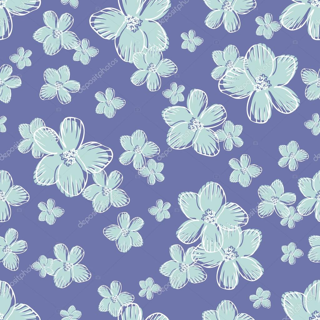 Vintage Floral Background Retro Seamless Pattern Beautiful Blue Flowers Vector Wallpaper Fashion