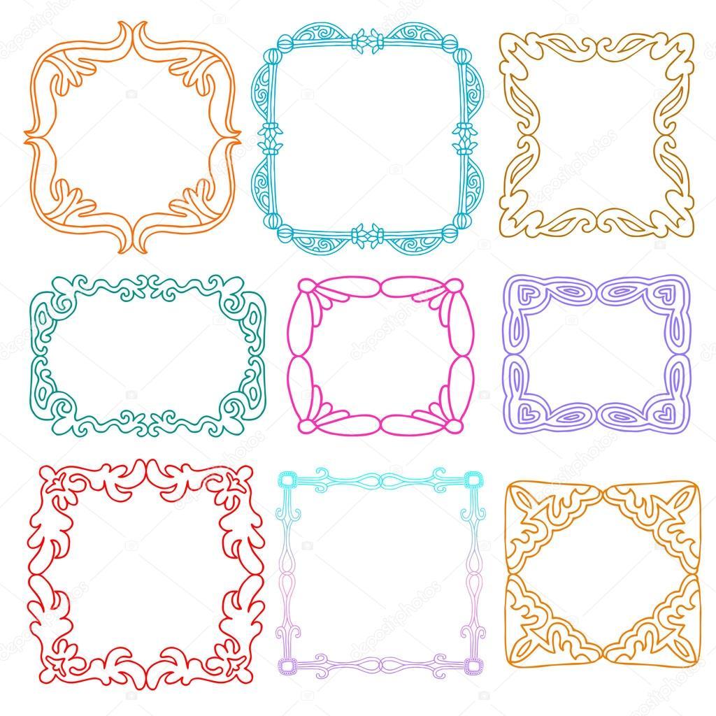 Carino photo frame insieme elementi di design di stile for Frame per foto