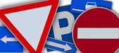 Fotografie Einige europäische Verkehrszeichen miteinander vermischt