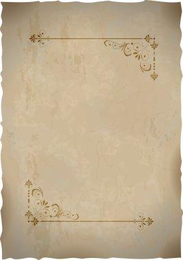 Old paper sheet with vintage frame