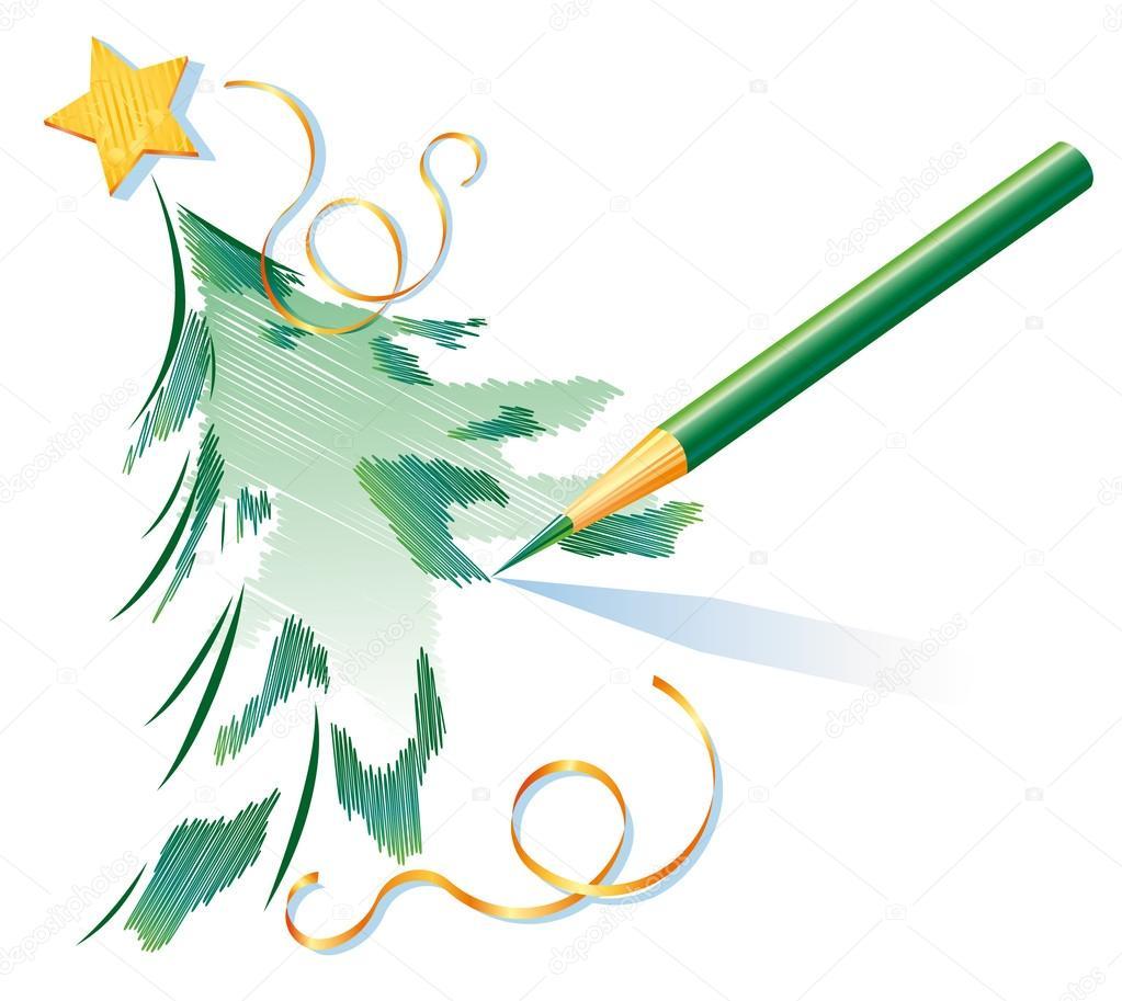 Crayon vert est dessin sapin de no l image vectorielle kostins 13874908 - Dessin sapin vert ...