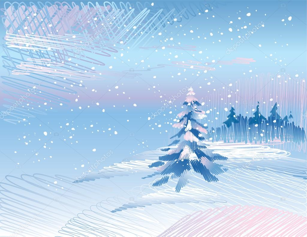 Winter landscape with fir tree under falling snow