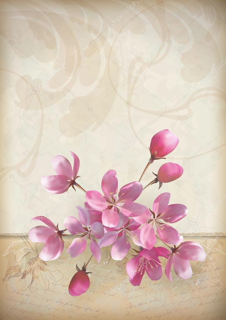 Realistic vector cherry blossom flower arrangement spring design with a beautiful bouquet of pink flowers, ragged edge of ornate old paper, sketchy flowers and text on vintage grunge background