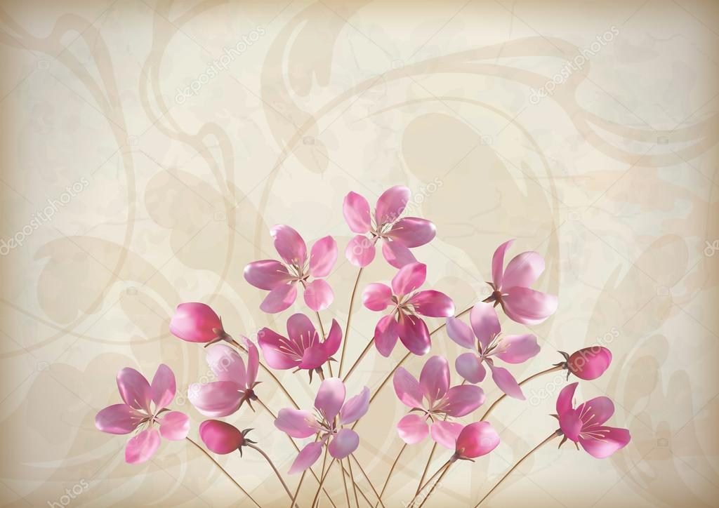 Floral wedding greeting or invitation design with beautiful realistic spring bouquet of pink flowers, abstract decorative wallpaper pattern on grunge textured background