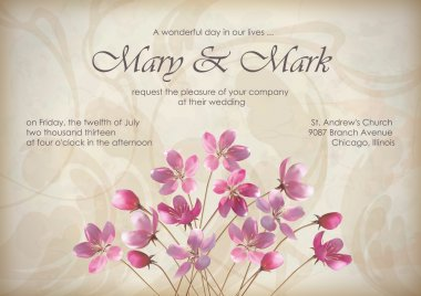 Floral wedding greeting or invitation design with beautiful realistic spring bouquet of pink flowers, text, abstract decorative wallpaper pattern on grunge textured background