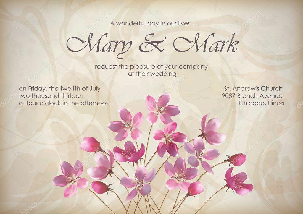 Blumen Hochzeit Grußkarten Oder Einladung Design Mit Schönen Realistischen  Frühling Bouquet Von Rosa Blumen, Text, Abstrakt Dekorative Tapete Muster  ...