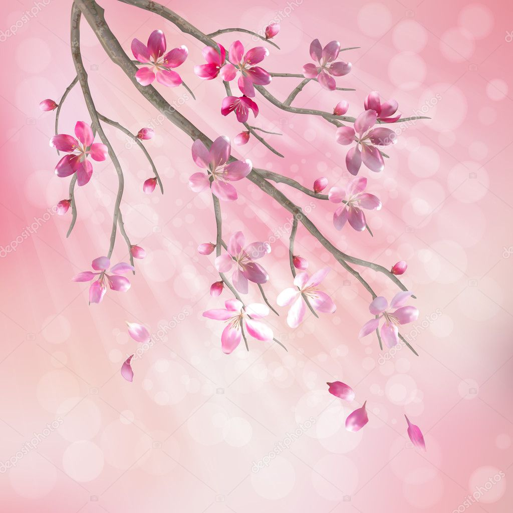 Spring vector tree branch cherry blossom flower. Floral artistic design with beautiful pink cherry (plum) blooming flowers, tree branch, flying petals, sun rays, light effect on pastel blur background