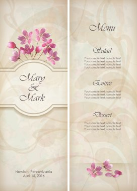 Floral vector decorative wedding menu or invitation template design with beautiful bouquet of pink flowers abstract decorative wallpaper pattern on grunge textured background in vintage style
