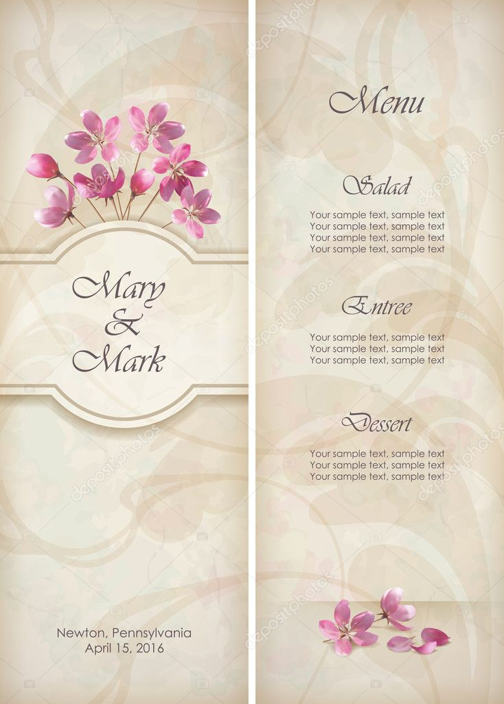 Floral vector decorative wedding menu or invitation template design floral vector decorative wedding menu or invitation template design with beautiful bouquet of pink flowers abstract mightylinksfo Choice Image