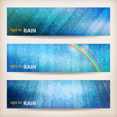 Blue rain banners. Abstract water background design. Rainy weather vector colorful bright background with falling in transparent drops, rainbow, ripple texture and blurred lights in wet day