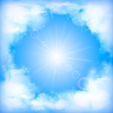 Sky vector design with white fluffy clouds, sun, blur, light effects on a clear summer day. Artistic background with space for text at the backdrop in blue pastel colors