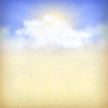 Blue sky background with white clouds and sun