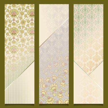 Vintage vector banners retro pattern design set