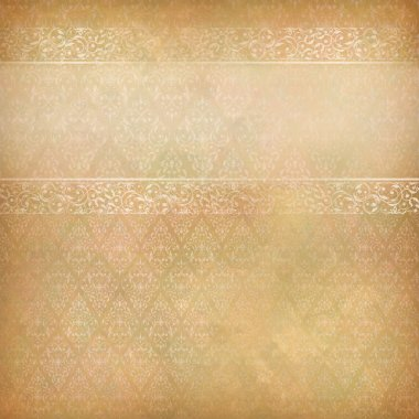 Vintage abstract vector background with lace banner, seamless antique wallpaper pattern, subtle grunge paper texture. Border retro design in old style Can be used as wedding, greeting, invitation card