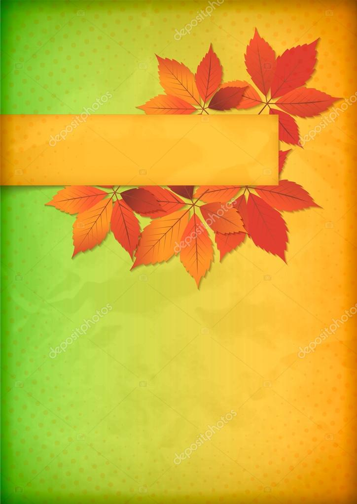 Autumn leaves on old crumpled paper with banner