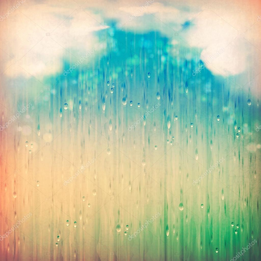 Vintage Abstract Grange Rainy Landscape Background Clouds Water Rain Drops Blurred Lights On The Textured Old Paper In Retro Style