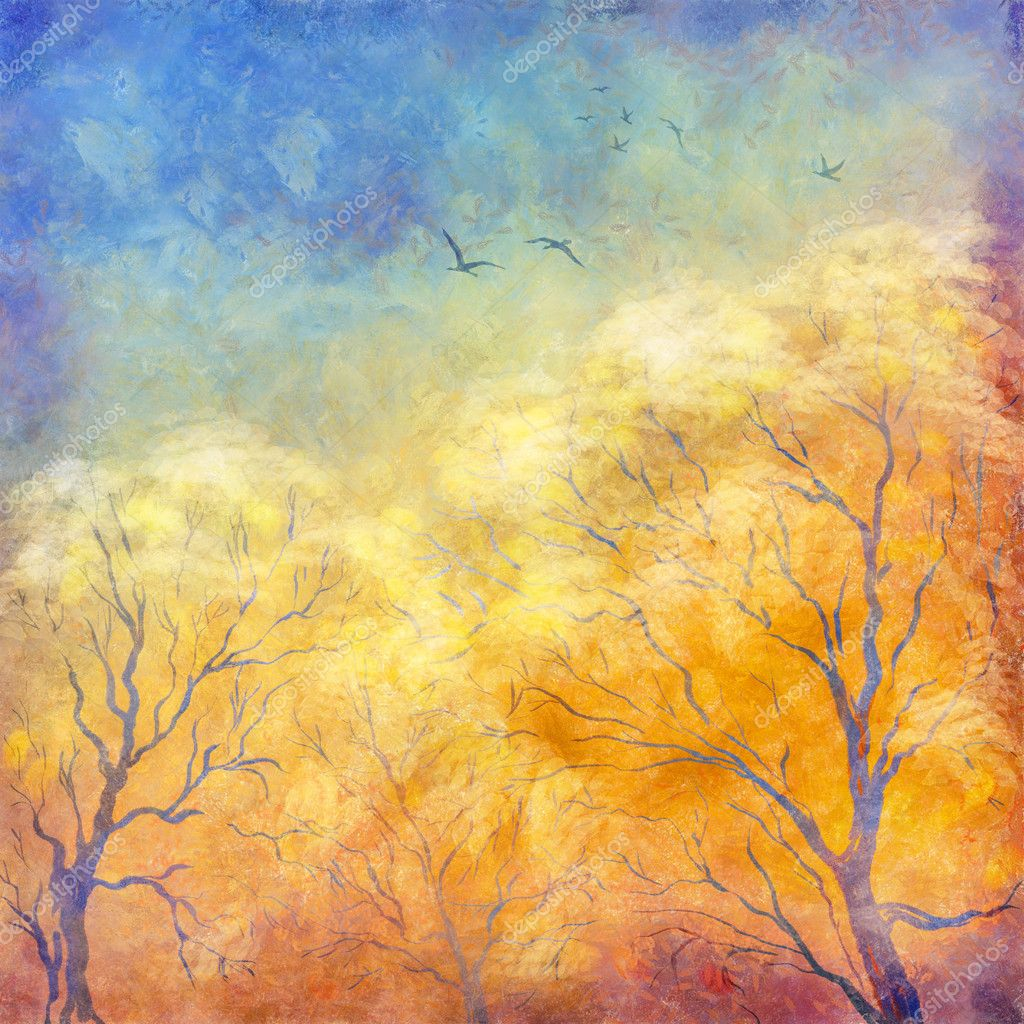 Digital oil painting autumn trees, flying birds