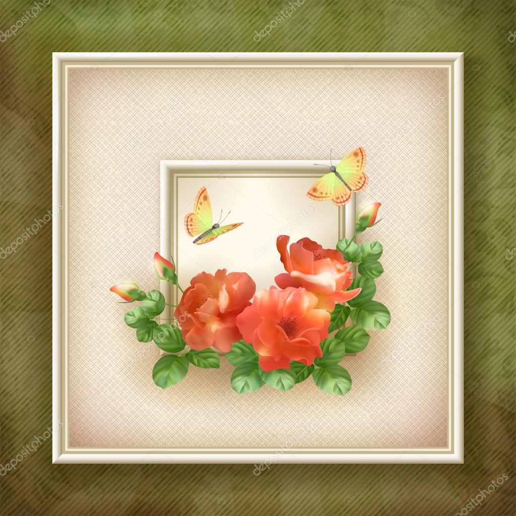 Modern square picture frame with red flowers roses, butterfly, canvas texture, ancient grunge wallpaper background, vintage old paper pattern