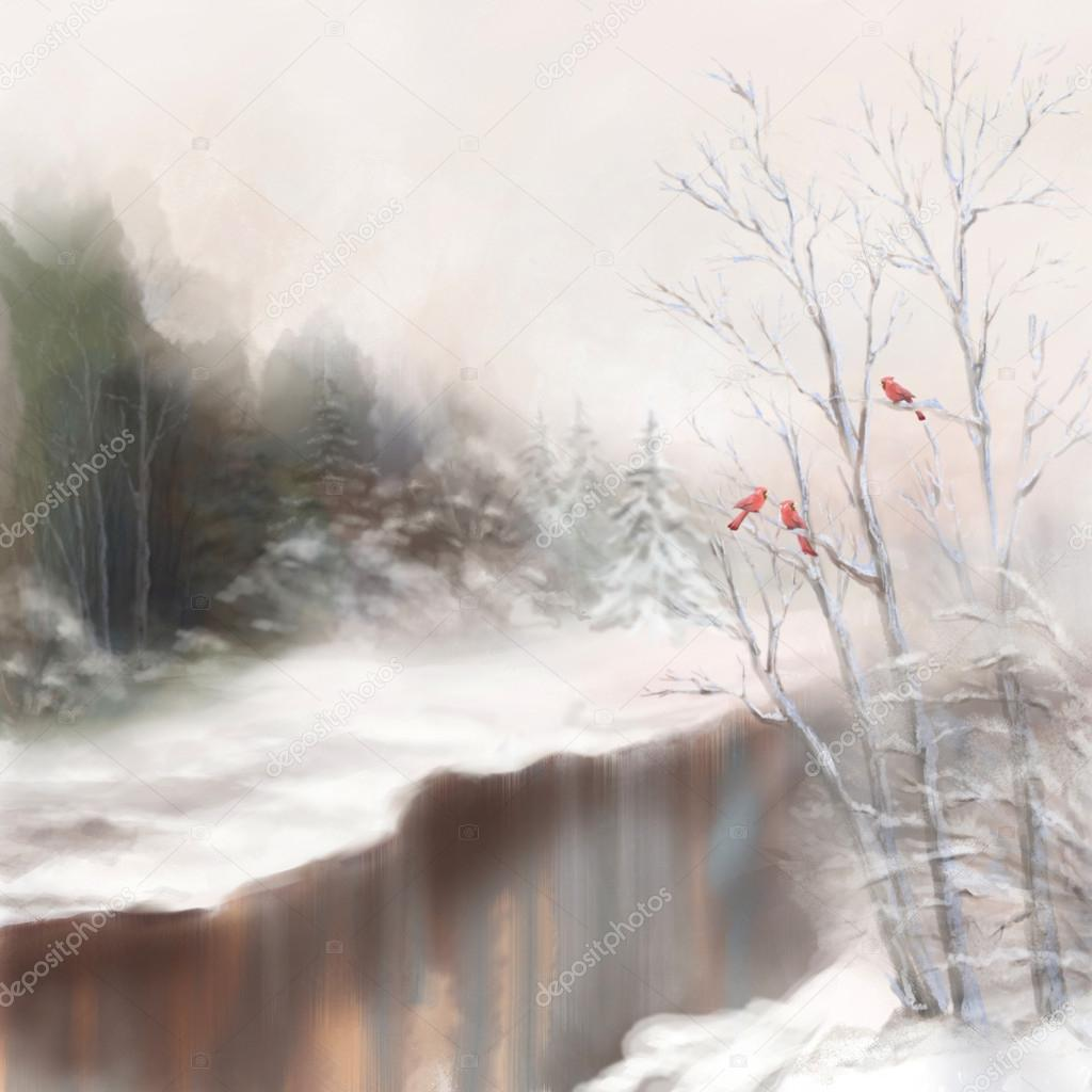 Winter watercolor landscape. Snowy picture scene in mist with snow drifts, trees, river, birds, frost, forest, fir-trees