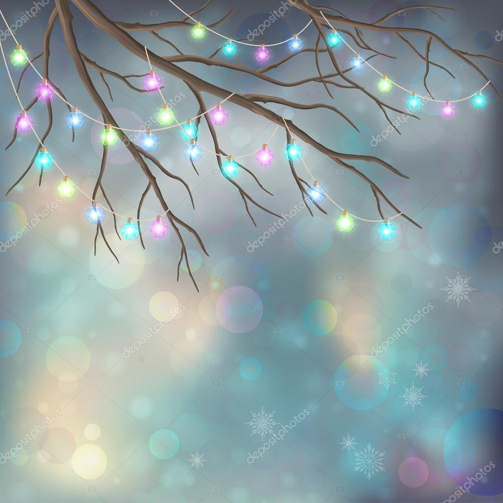 Christmas Light Bulbs on Xmas Vector Night Background. Tree branches, glowing decorative garland, snowflakes, colorful bokeh on abstract holiday backdrop