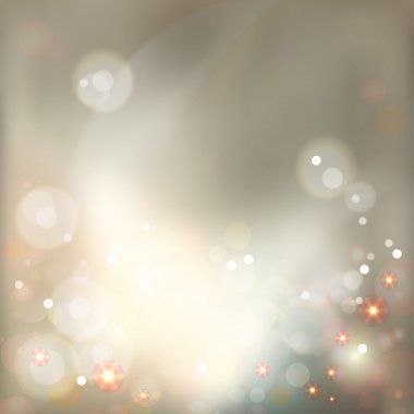 Abstract luxury bokeh vector modern style background with twinkling lights, crystals. Soft defocused holidays blurred pattern on gold backdrop