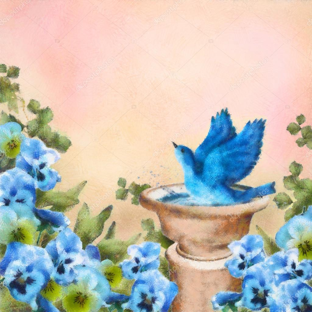 Romantic pastel watercolor and drawing garden scene. Bluebird splashing in a bird bath among beautiful pansy flowers. Concept design with symbol of happiness, love and joy. Artistic floral painting