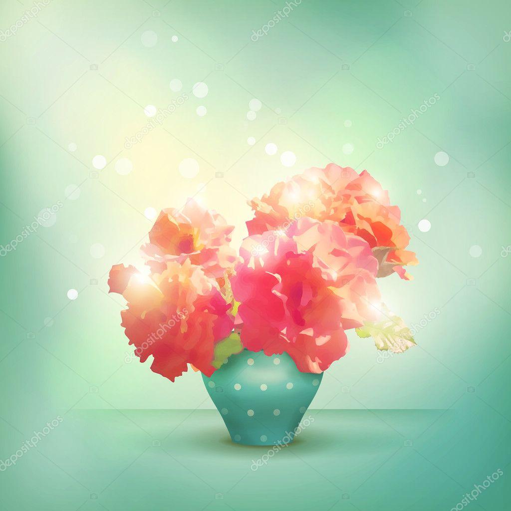 leuchtende blumen rosen pfingstrosen in der vase romantische vector floral hintergrund mit. Black Bedroom Furniture Sets. Home Design Ideas