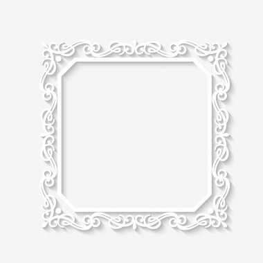 Vector vintage  baroque white frame with long shadows. Blank square paper frame with Baroque pattern and retro decorations on gray wall clip art vector