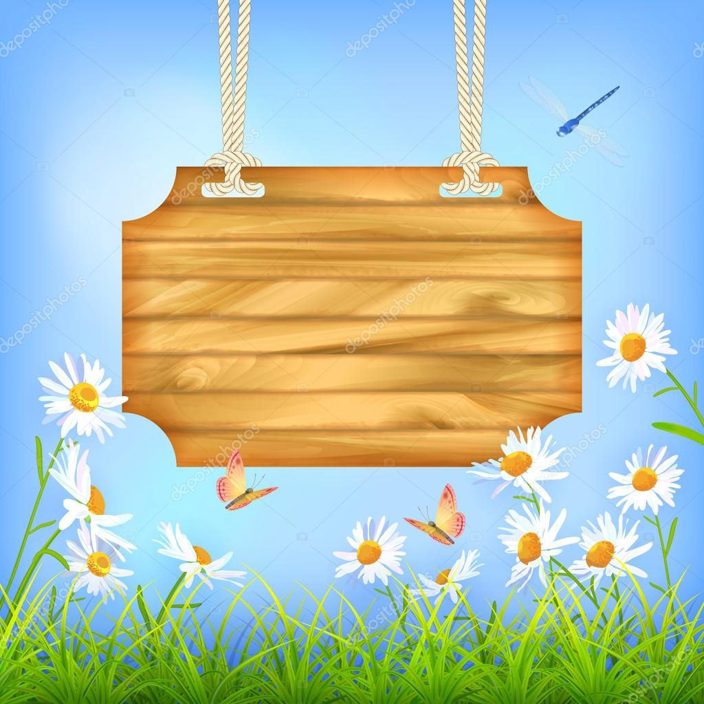 Sky Green Grass Flowers Wood Board