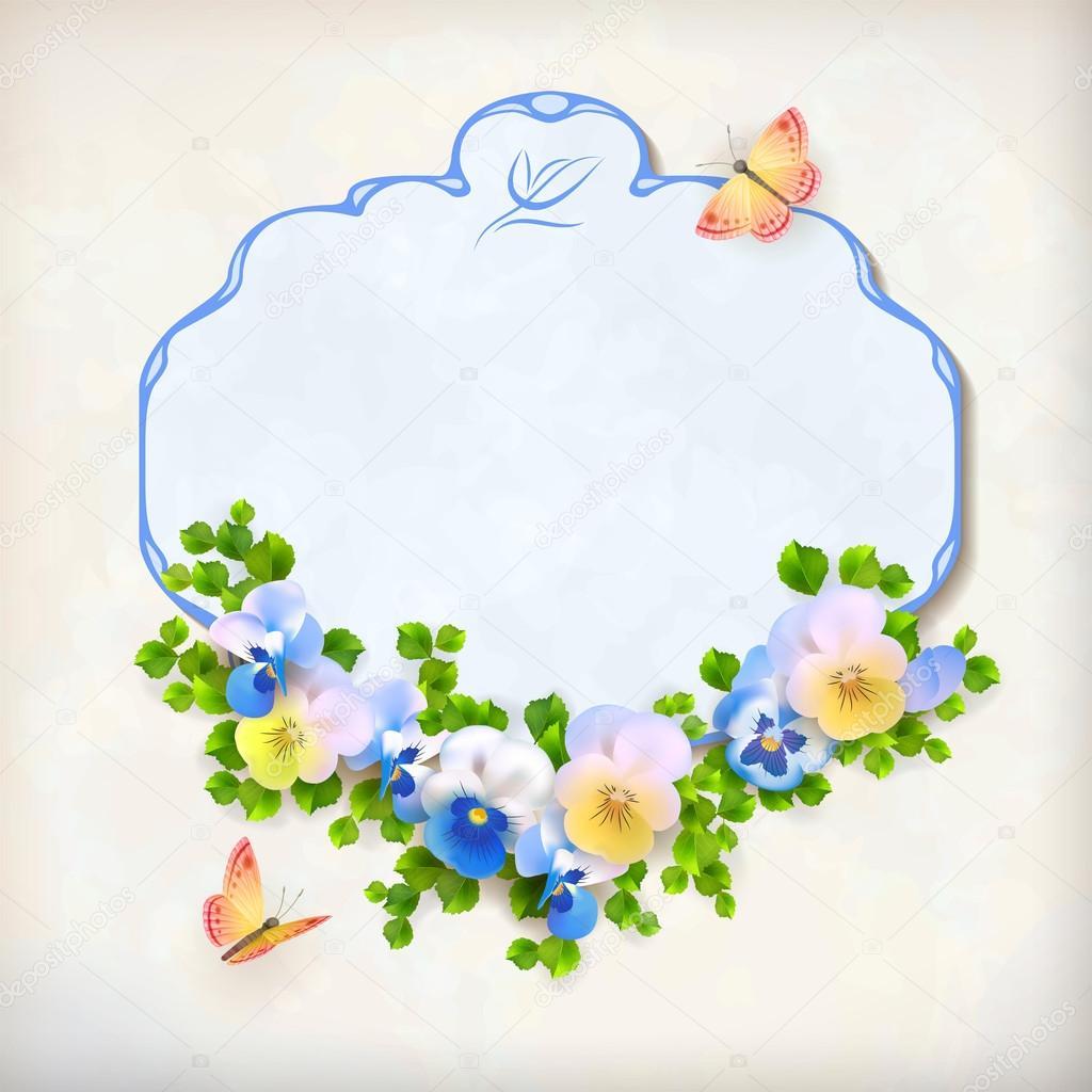 Vector Floral Vintage Pansy Flower Card
