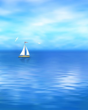 Yacht Vector Blue Sea Landscape