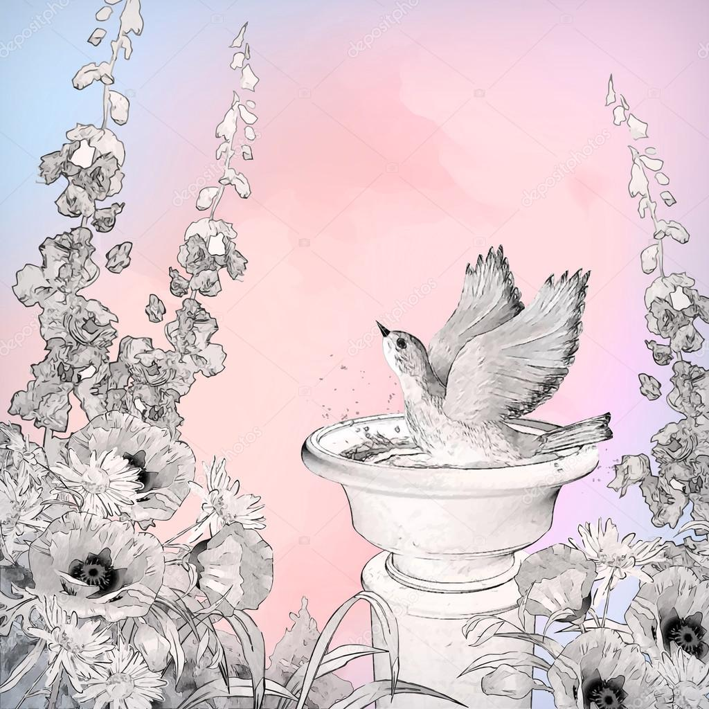 Vector Watercolor Bird Bath Sketch Flowers