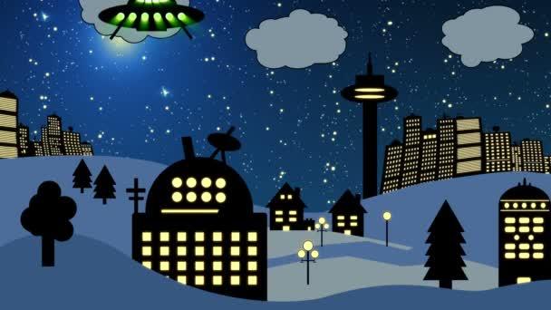 Ufo fliegt über Sternwarte (Karikatur))