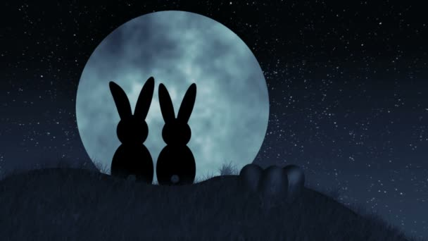 Easter Bunnies on Hill in front of giant moon