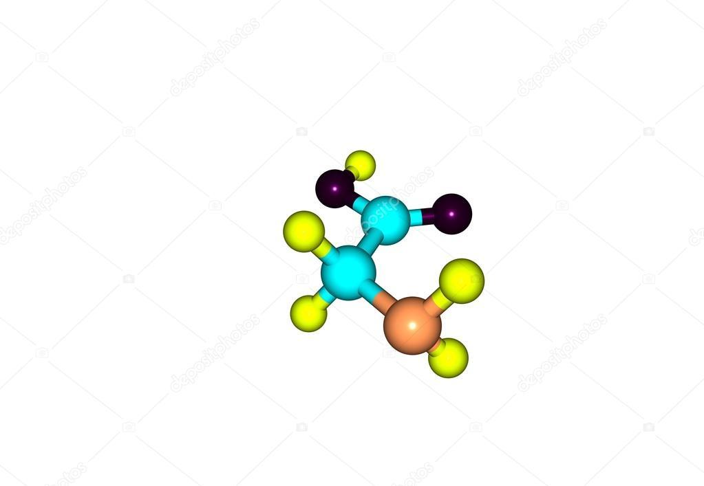 Estructura Molecular Glicina Aislado En Blanco Fotos De
