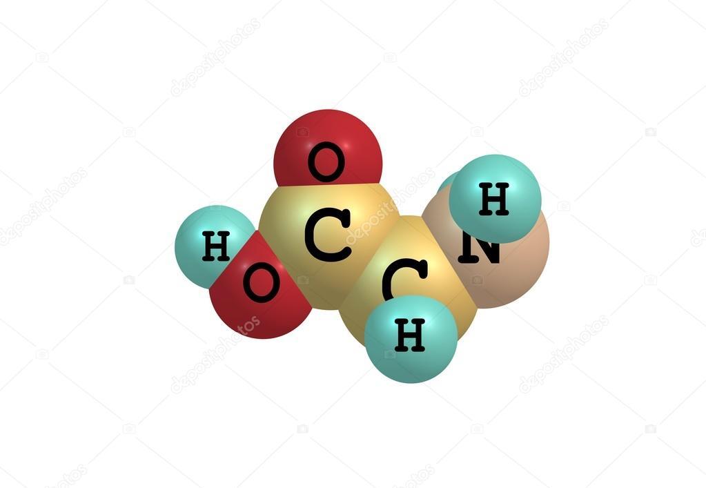 Estructura Molecular Glicina Aislado En Blanco Foto De