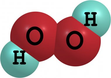 Hydrogen peroxide (H2O2) molecular structure isolated on white