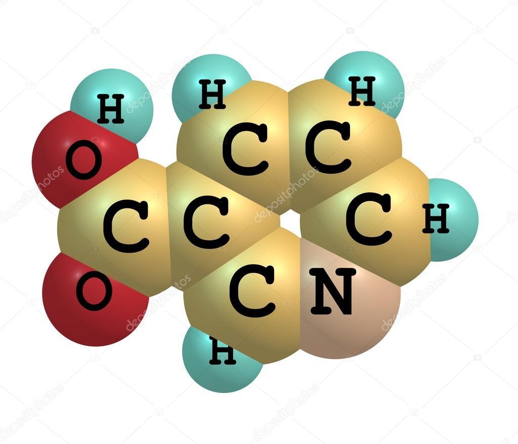 Estructura Molecular De Niacina B3 Sobre Fondo Blanco