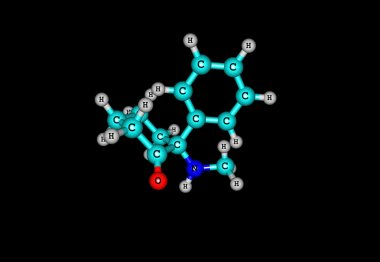 Ketamine molecule on black