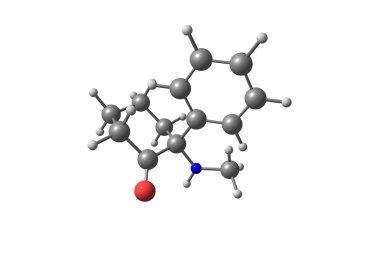 Ketamine molecule on white