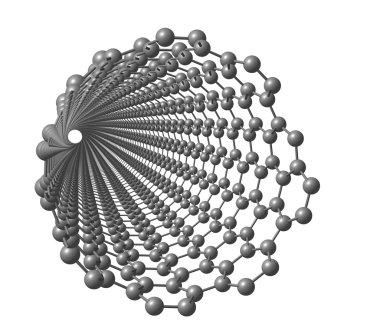 Carbon nanotube on white background
